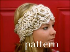 crochet chunky headwarmer with flower - I love love love this - so maybe will @Paige Hereford Hereford Hereford Hereford Conway ;)