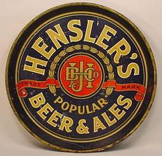 Hensler's Brewery  serving tray