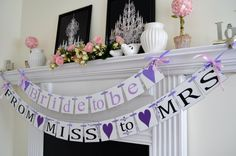 Bride to be, From Miss to Mrs banner, Wedding garland, purple bridal shower decoration, wedding decor,