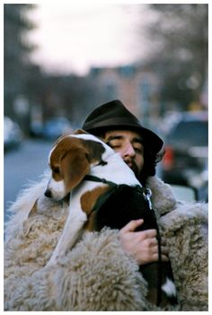 """The Nader Hasan Coat Series """"The Coat makes a dog happy #2"""" or alternative title: """"""""Freewheelin' (with a dog)"""""""
