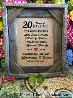 Framed 20th Wedding Anniversary Gift Love Valentines Day