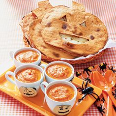 """Kids' Halloween Dinner Menu Friendly pumpkin-shaped quesadillas served alongside """"bloody"""" soup and """"bug-filled"""" salad will put the whole family in a festive, Halloween spirit!"""