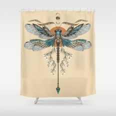 Dragonfly Tattoo Shower Curtain by rutadumalakaite Zen Bathroom, Dragonfly Tattoo, Curtains, Embroidery, Tattoos, Shower, Pattern, Stuff To Buy, Dragon Flies