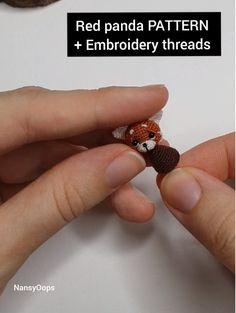 Crochet red panda pattern by NansyOops + embroidery threads + a hook mm Octopus Crochet Pattern, Crochet Animal Patterns, Stuffed Animal Patterns, Crochet Patterns Amigurumi, Crochet Dolls, Crochet Animals, Crochet Crafts, Crochet Projects, Crochet Videos