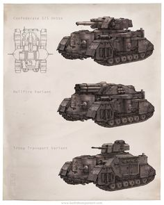 """qsy-complains-a-lot: """" Ontos Heavy Tank, concept art by Keith Thompson, for Iron Grip: Warlord by ISOTX rifled main gun, one front machine gun in a ball-mount, one machine. Army Vehicles, Armored Vehicles, Bazar Bizarre, Valkyria Chronicles, Landsknecht, Tank Design, Battle Tank, Punk Art, Panzer"""