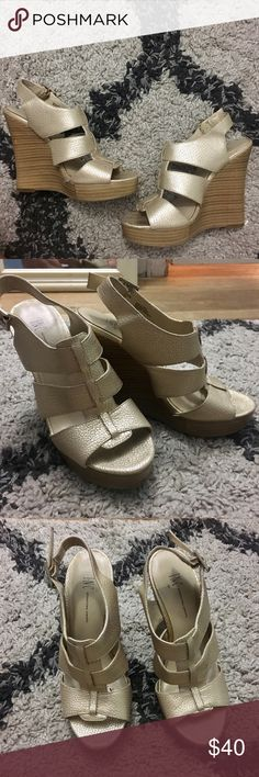 INC wedges Gold wedges from INC. with wooded heel. Good condition. Size 5-5.5. So cute! INC International Concepts Shoes Wedges
