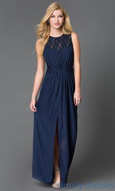 Long Navy Blue Wow Couture Dress with Open Back and Lace - Brought to you by Avarsha.com