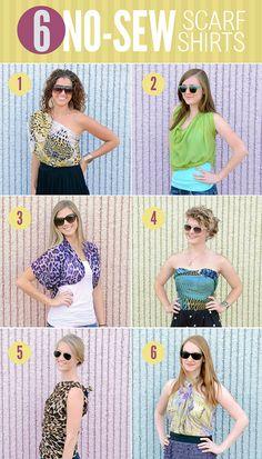 no sew scarf top No Sew Scarf, Diy Scarf, Scarf Shirt, Scarf Ideas, Shirt Scarves, Scarf Top, Ways To Wear A Scarf, How To Make Scarf, How To Wear Scarves