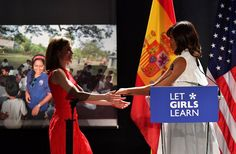 Pin for Later: Michelle Obama and Queen Letizia Look Like 2 Best Girlfriends in Spain