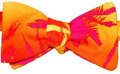 Bow Tie Logic Summer Palm Trees on Cotton Fabric Self Tie Bow Tie | BowTieLogic.com   $40 Tie Bow, Pink Pants, Palm Trees, Bright Colors, Cotton Fabric, Men's Fashion, Bows, My Style, Spring