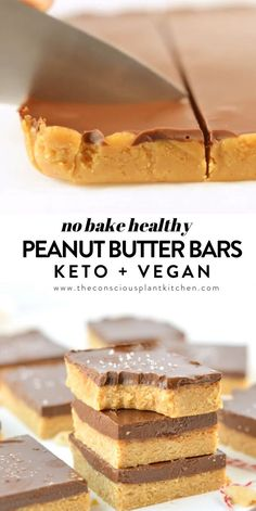 NO BAKE HEALTHY PEANUT BUTTER BARS Vegan, Gluten free + Keto option using Monk fruit syrup available food clean eating food healthy food ideas food photography food plan food recipes Vegan Sweets, Healthy Sweets, Healthy Dessert Recipes, Healthy Baking, Healthy Snacks, Snack Recipes, Protein Bar Recipes, Healthy No Bake, Healthy Drinks