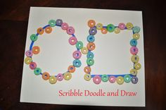 Using fruit loops to build our fine motor and math skills. Scribble Doodle and Draw