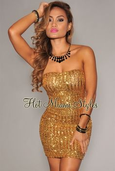 Gold Sequined Strapless Padded Dress