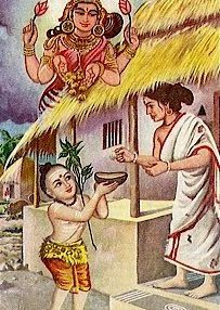 """her selflessness and the poverty of the lady and prayed to Goddess Lakshmi in a beautiful sloka which is called """"Kanaka Dhara Stotram"""". On completion of this stotram, Goddess Lakshmi appeared in person and showered a rain of golden coins on the poor lady's house."""