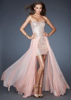 f75bc184b8a9 La Femme 18872 High Low Sequin Dress with Detachable Chiffon Skirt