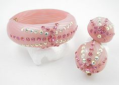 Pink Thermoset Plastic Clamper Set - Garden Party Collection Vintage Jewelry
