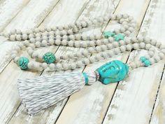 Charm- & Bettelketten - Lange Kette - HOLPERLEN - BUDDHA - BAKERS TWINE - - ein Designerstück von Kunterbuntes-Perlenspiel bei DaWanda