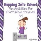 $ This revised packet includes 12 activities for the first week or two of school for grades K-1.  These fun activities are ELA Common Core Aligned and and great for class building. Reading and Writing activities to help assess your students at the beginning of the year.