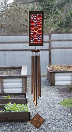 Windchime Red Purple Glass Suncatcher Wind Chimes