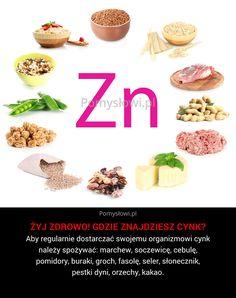 Aby regularnie dostarczać swojemu organizmowi cynk należy spożywać: marchew, soczewicę, cebulę, pomidory, buraki, groch, fasolę, seler, słonecznik, pestki dyni, orzechy, ...
