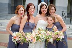 Love the Greyish Blue Dress with Soft Pastel Bouquet