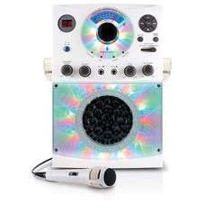Singing Machine Bluetooth Karaoke System With LED Disco Lights and Microphone White image-0