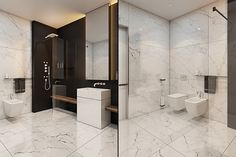 This one level shower with large marble tiles can provide a luxurious environment for a universal or accessible design