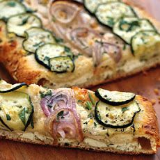 Cheesy Zucchini and Red Onion Flatbread Recipe