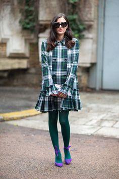 Street Style Milan Fashion Week Street Fall 2014 - Milan Street Style - Harper's BAZAAR #plaid