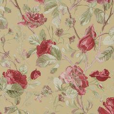 Detta slingriga ros-och bladtapetmönster fångar perfekt känslan i en engelsk lantträdgård i full blom.