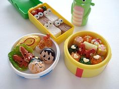 """Japanese Life of Bento lunch for kids--Bento can be elaborately arranged in a style called """"kyaraben"""" (""""character bento""""). Kyaraben are typically decorated to look like popular characters from Japanese cartoons (anime), comic books (manga), or video games."""