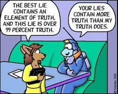 Image result for lies by only speaking truth