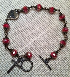 Heart of Jesus Rosary Bracelet, Red faceted czech beads, catholic jewelry, christian jewelry