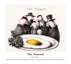 The Funeral, by Via Fang. Art, illustration, animals, birds,