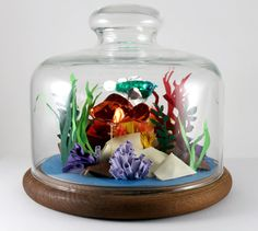 3D Paper Aquarium in Glass Dome by jamiebhannigan on Etsy, $145.00