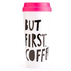Bando - But First Coffee Thermal.do's Hot Stuff Thermal Mug couldn't have said it any better! This thermal will keep your coffee or tea totally warm and cozy while you get to look extra cute. Thermal Travel Mug, Thermal Mug, Insulated Travel Mugs, But First Coffee, Holiday Wishes, Holiday 2014, Christmas Holiday, Holiday Gifts, Gifts For Teens