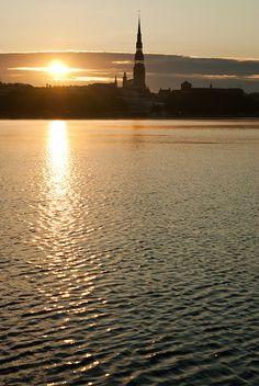 Sunset. River Daugava. Riga.