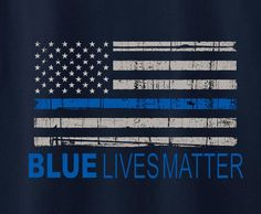 Blue Lives Matter American Flag Cops police protest Tee T-Shirt