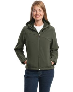 Ladies Hooded Jacket | Buy wholesale port authority ladies textured hooded soft shell jacket at Gotapparel.com.