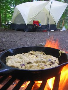bannock at camping. Mix dry ingredients at home, add a little warm water, and cook in a cast iron pan