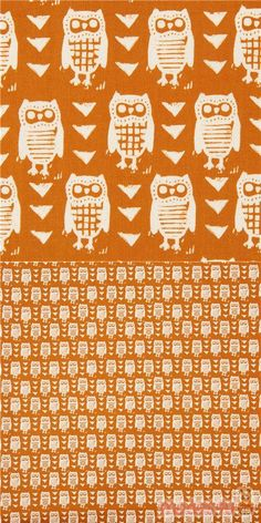 "brown cotton fabric with owls, triangles, Material: 100% cotton, Fabric Type: smooth cotton fabric, Pattern Size: size of the owl: ca. 3.5cm (1.4""), Designer: Alexia Abegg #Cotton #Animals #AnimalPrint #Owls #USAFabrics"