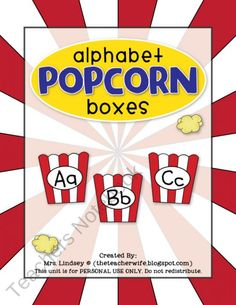 free printable - alphabet popcorn boxes