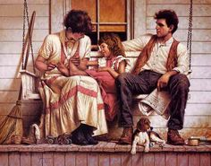 From historical events to everyday incidents, Jim Daly paints Americana. His paintings are high gloss renderings evocative of rural life,. Illustrations, Illustration Art, Family Illustration, Art Ancien, Western Art, American Artists, Oeuvre D'art, Childhood, Portraits