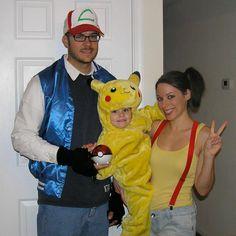 Pokemon family costumes: Ash, Pikachu, Misty