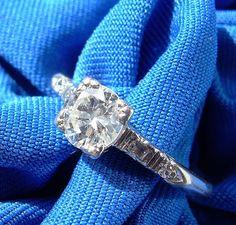Deco Old European Cut Diamond Platinum Engagement Ring Antique Vintage Solitaire #Antiqueengagementring #ArtDecoengagementring