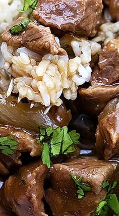 Slow Cooker Beef on Rice – Savory beef and gravy slow cooked to tender perfection and served over rice. ❊