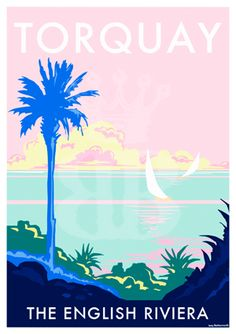 Torquay Palm vintage style travel poster and seaside print forms part of the British Coastlines travel art collection. Created by Devon Artist Becky Bettesworth. Posters Uk, Beach Posters, Railway Posters, Quote Prints, Poster Prints, Retro Quotes, British Seaside, New Poster, Vintage Travel Posters