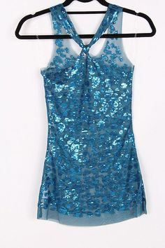 Sequined Dotted Luster Top in Graceful Blue