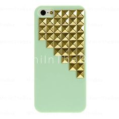 Mint with gold studs iPhone case.