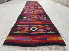Long Kilim Runner UNIQUE Pink and Orange Colored by HANDSONHIPS